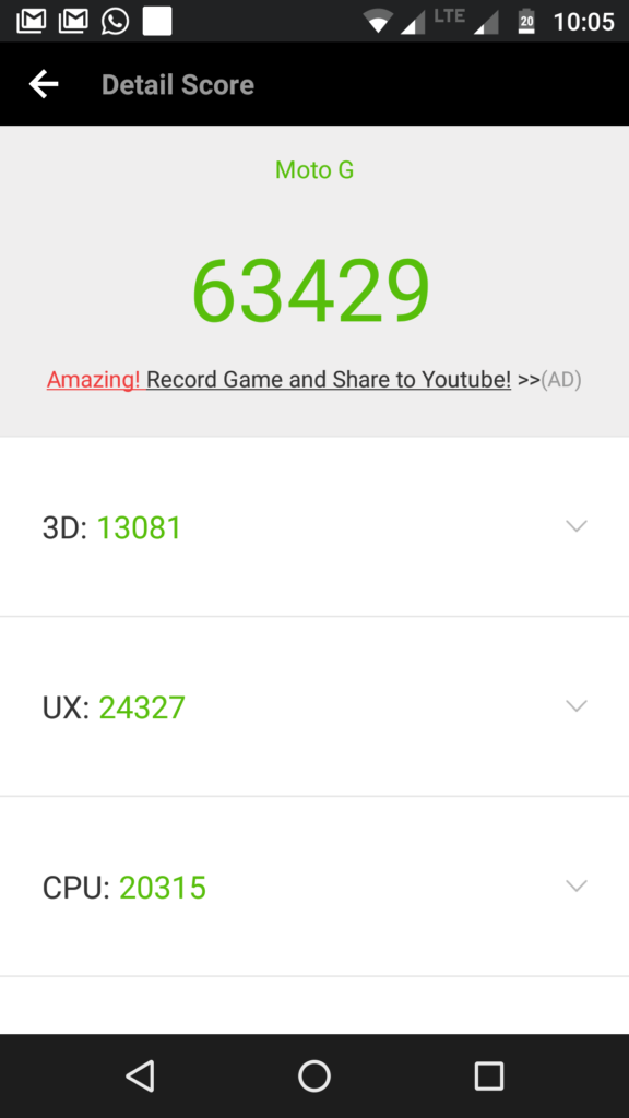Moto G5 Plus AnTuTu benchmark score