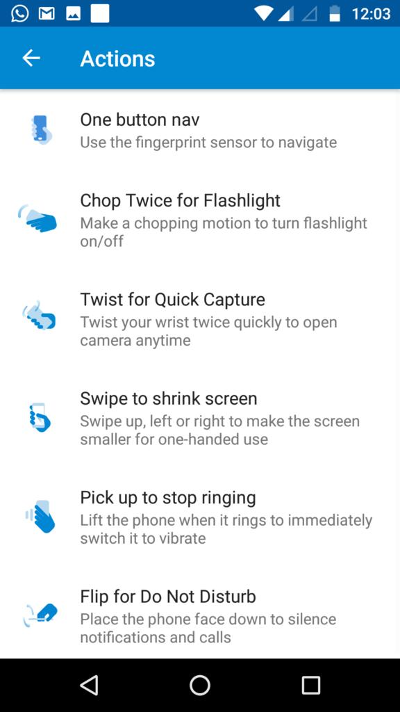 Moto G5 Plus Moto Actions