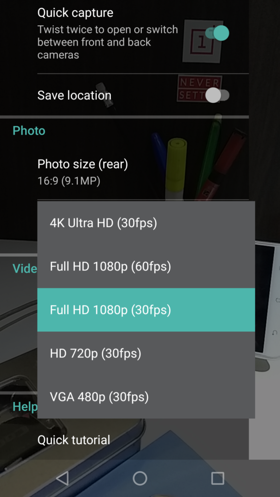 Moto G5 Plus video recording options