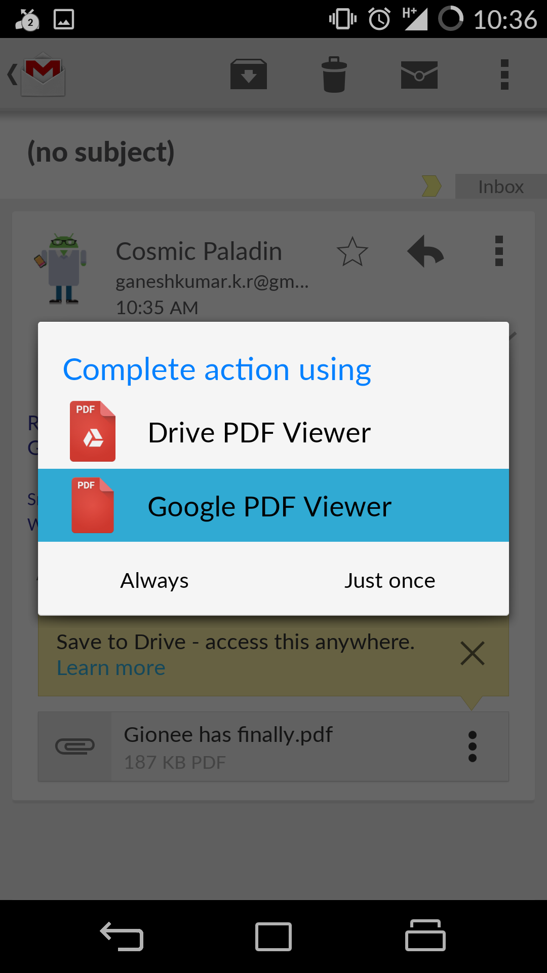 how to set default pdf viewer on android