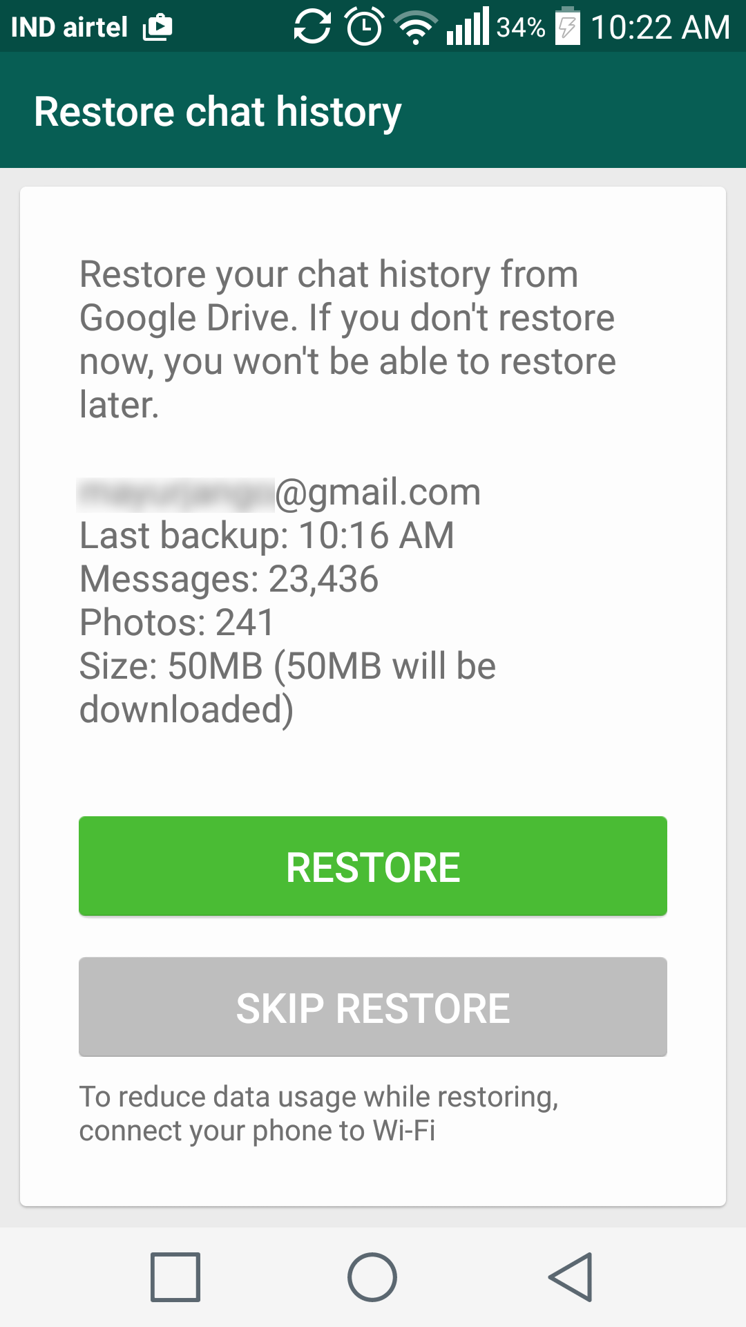 How can i download whatsapp backup from google drive