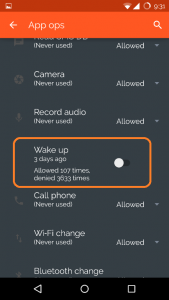 Disable Wake Up