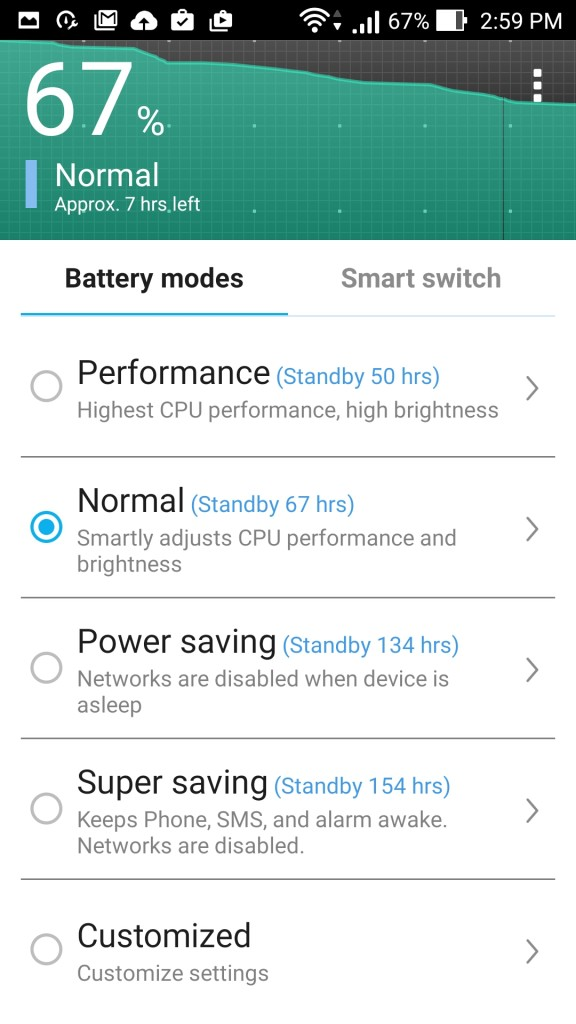 Battery modes_Zenfone Zoom ZenUI