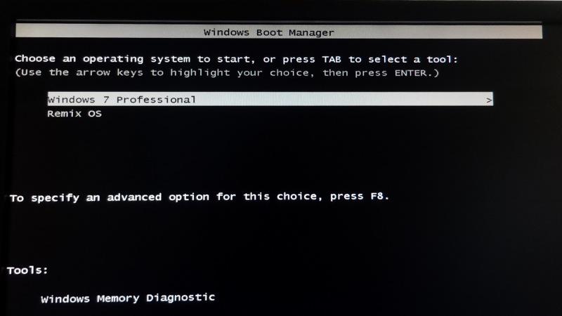 Remix Os_Windows Boot menu