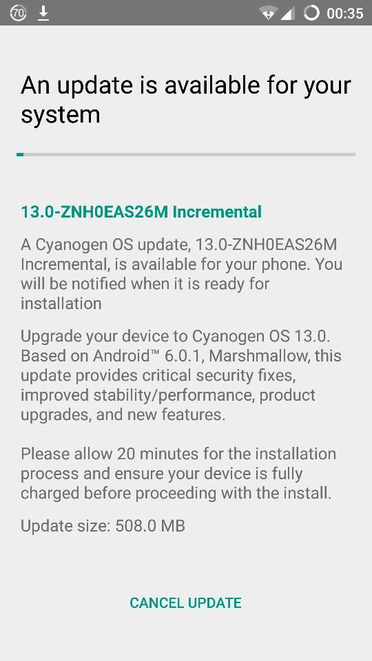 OnePlus One Cyanogen 13.0 OTA update