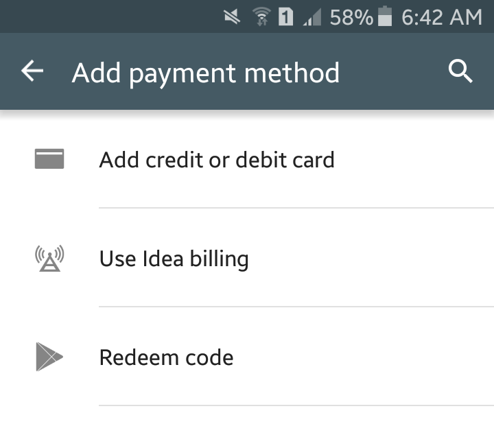 Google Play India Carrier Billing via Idea