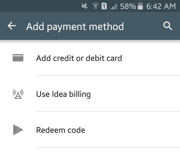 Google Play India Carrier Billing via Idea