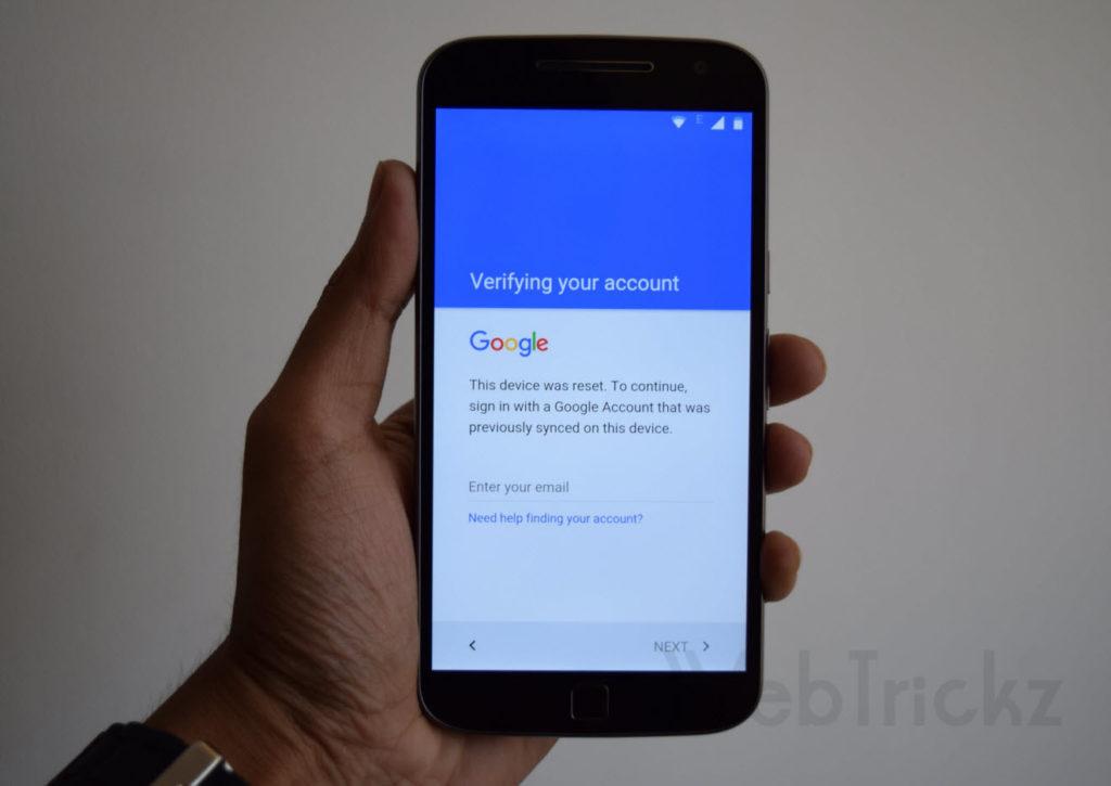 Motorola Moto G4 Plus FRP Bypass