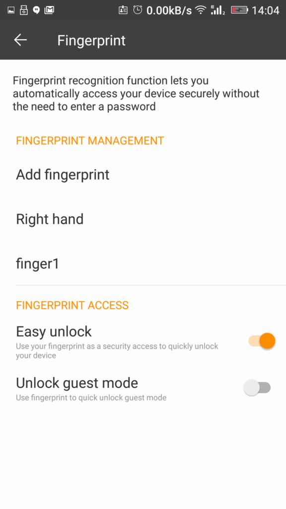 Fingerprint setting