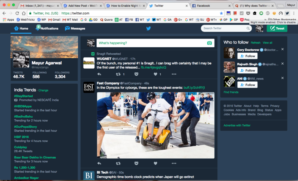 Twitter Web – Night Mode