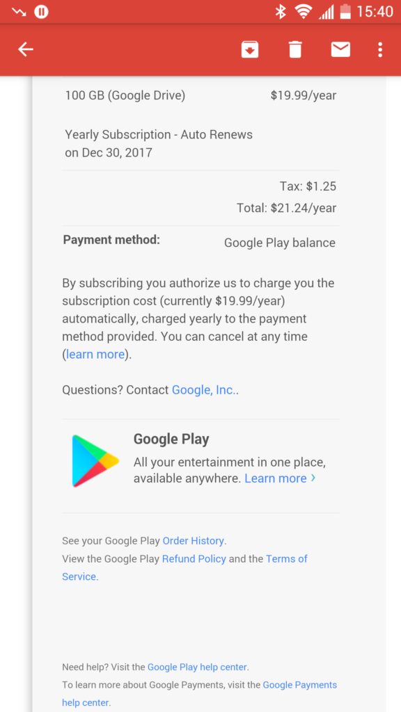 Pay for Google Drive Storage using Google Play balance