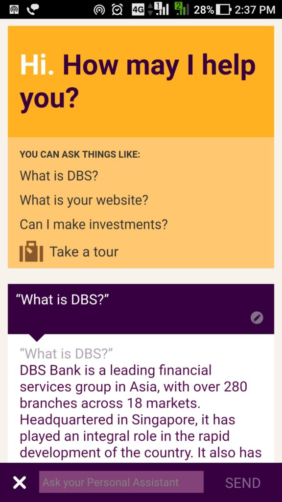 Digibank 24x7 virtual assistant