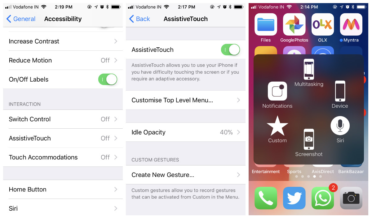 use assistive touch to take screenshot