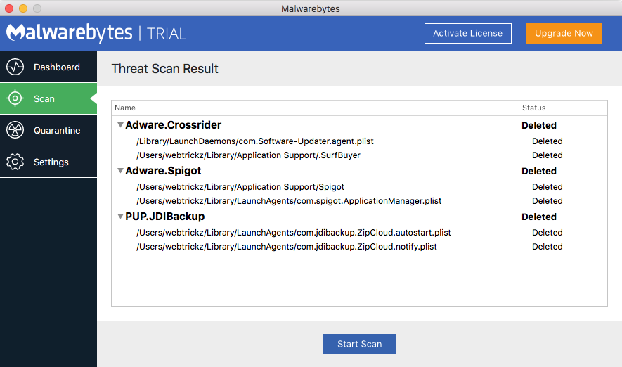 Scan Mac for adware and threats