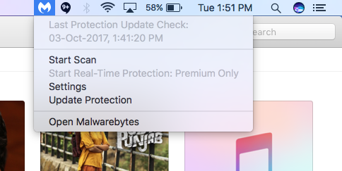 Malwarebytes for Mac_menu bar