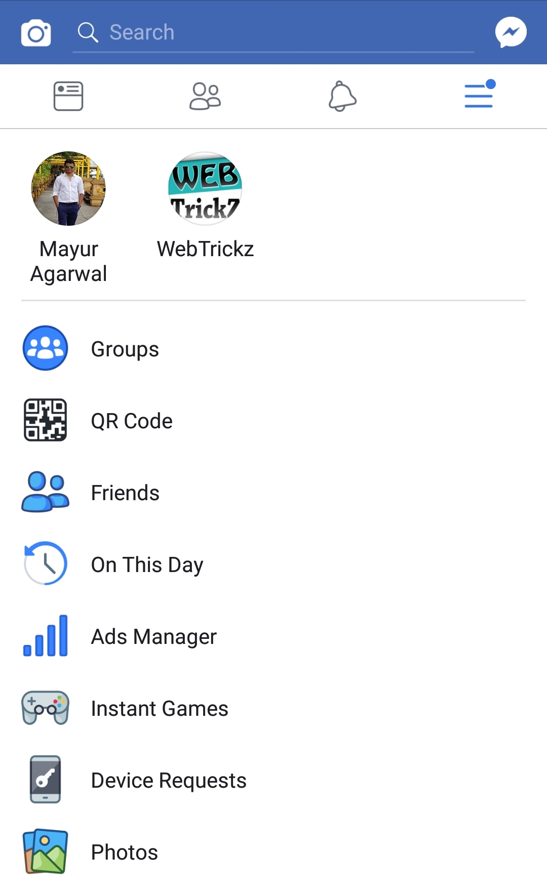 Facebook for android new menu design