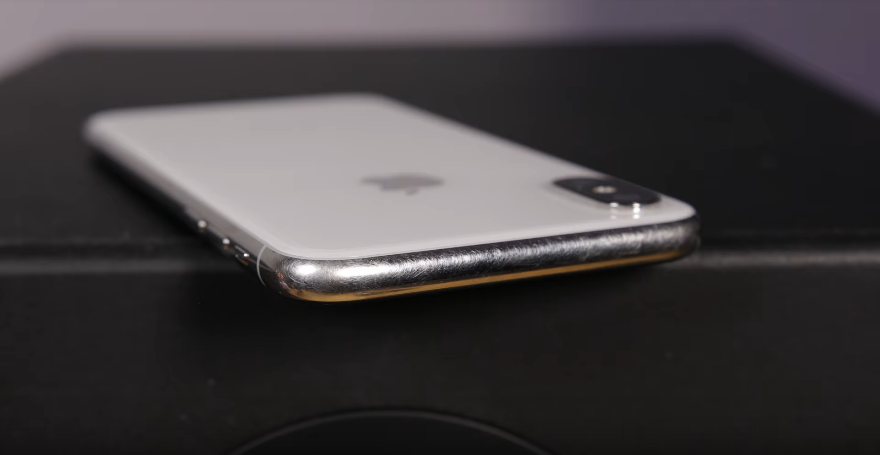 scratches on iPhone X Silver with stainless steel chassis