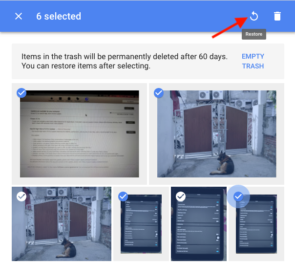 restore photos from google photos