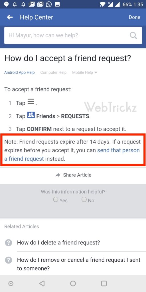 facebook friend request expiry time