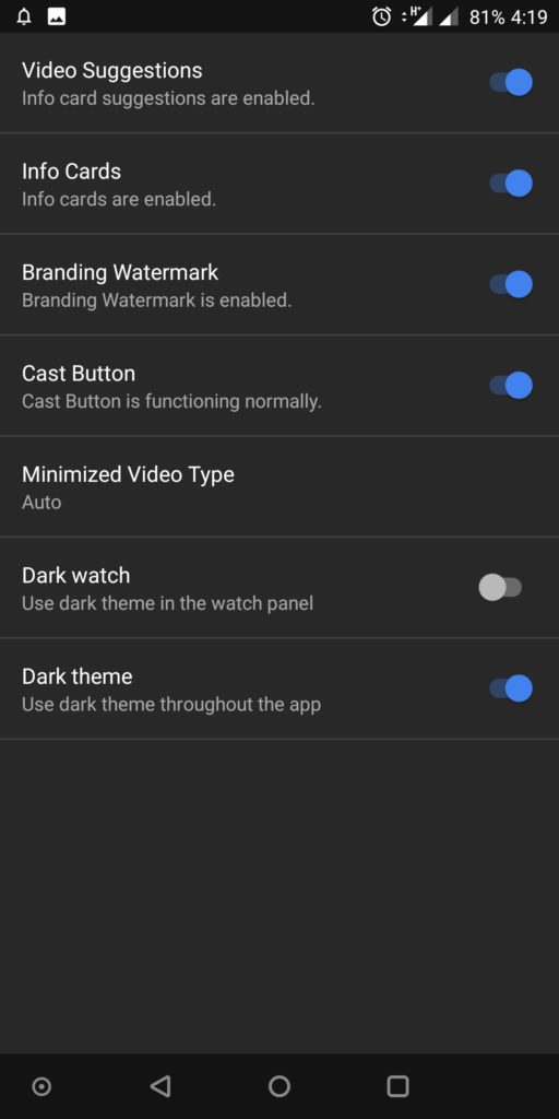 youtube vanced dark theme