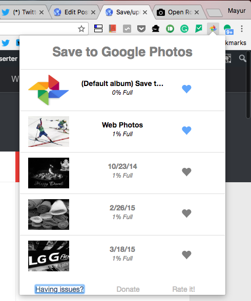 Save to Google Photos settings