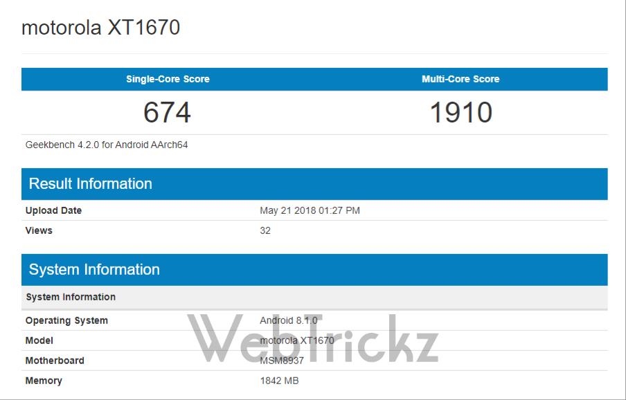 Moto G5 Oreo update Geekbench