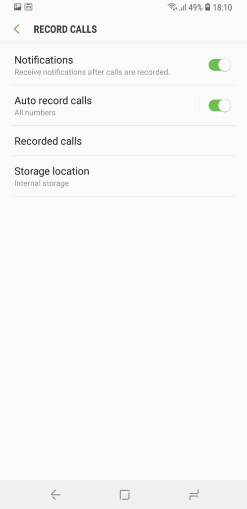galaxy s9+ record calls automatically india