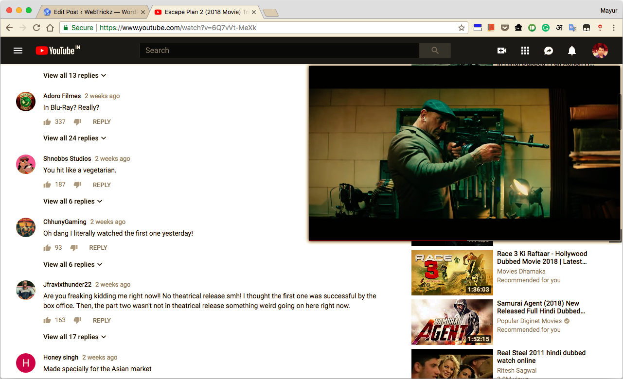 Read Comments while Watching YouTube Videos in Chrome on Desktop