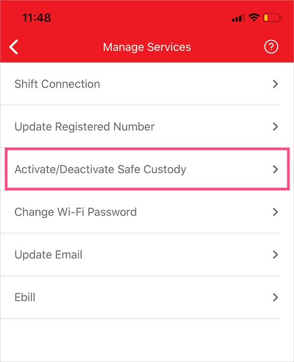 Activate/Deactivate Safe Custody online