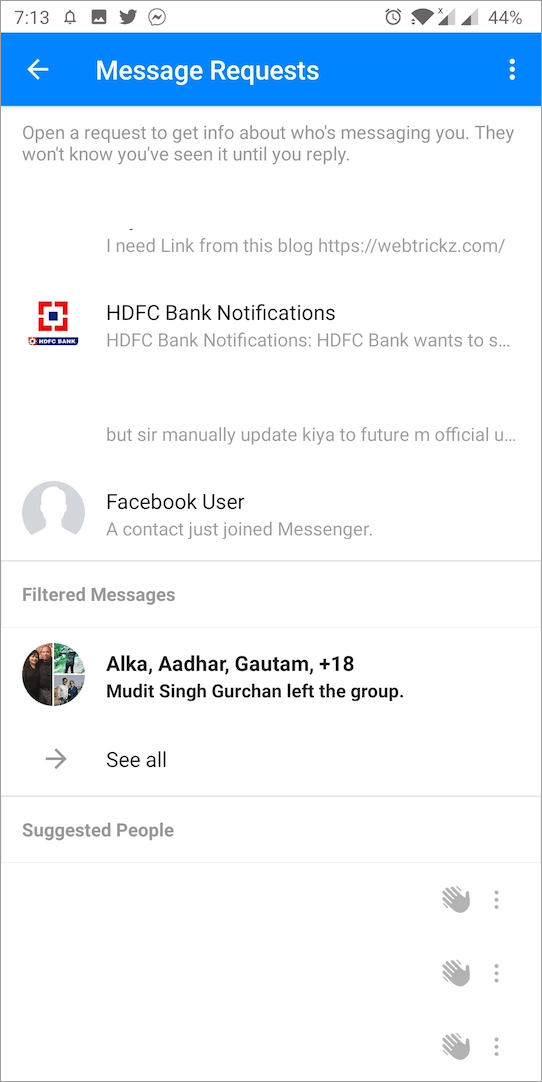 message requests in facebook messenger