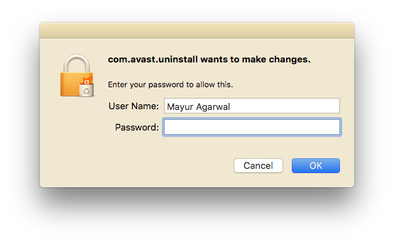 enter administrator user name and password to remove avast on mac