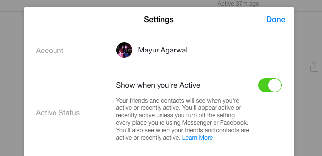 turn off active on messenger