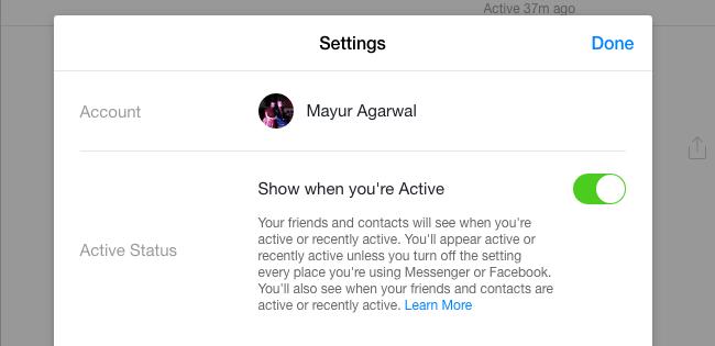 turn off active on messenger
