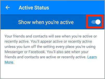 turn off active status in messenger 2019