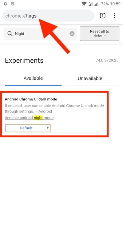 How to Enable Dark Mode in Chrome 74 Stable on Android