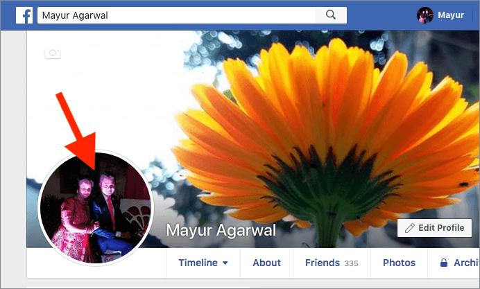 facebook profile on desktop
