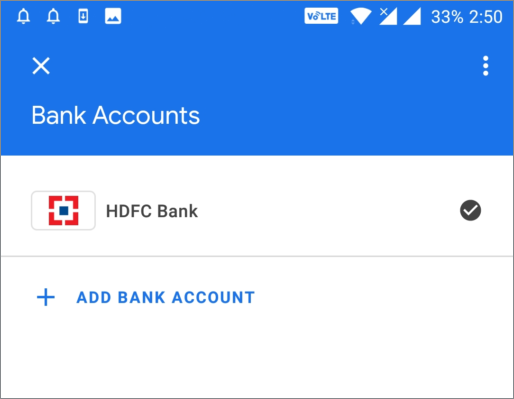 google pay select bank account