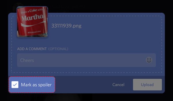 how to put spoiler on images in discord