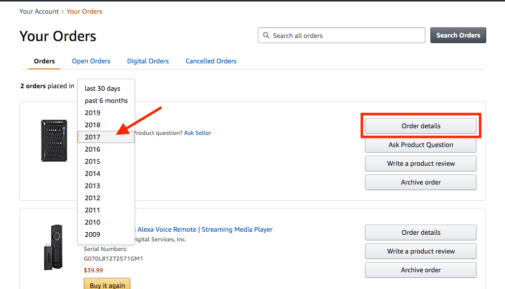 how to download old invoice from amazon app
