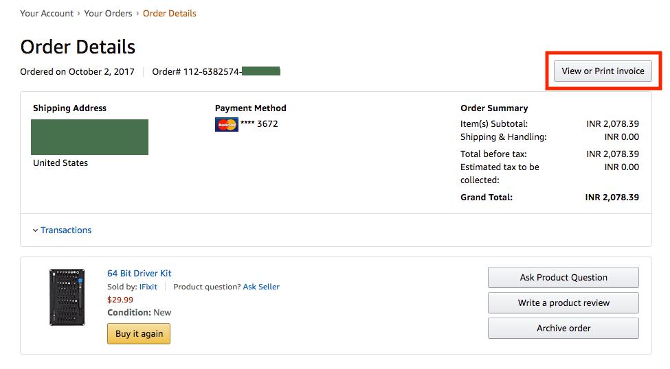 download amazon invoice