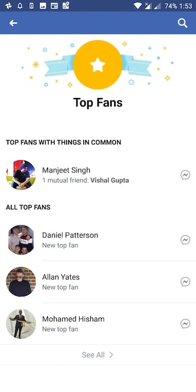 Top Fan Facebook