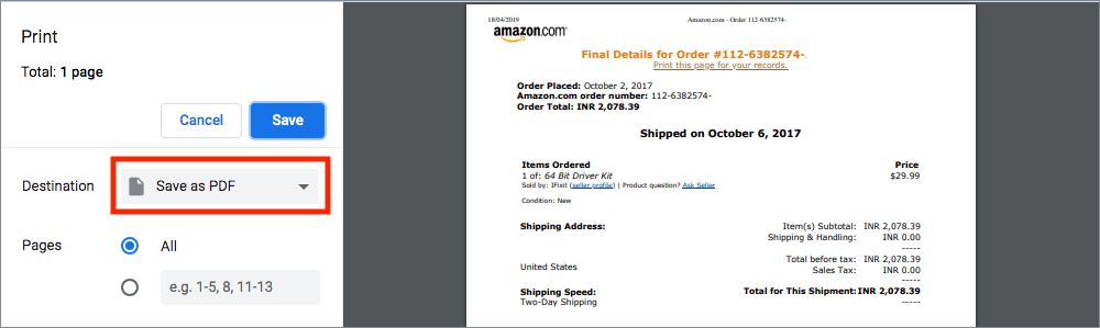 save amazon invoice as pdf