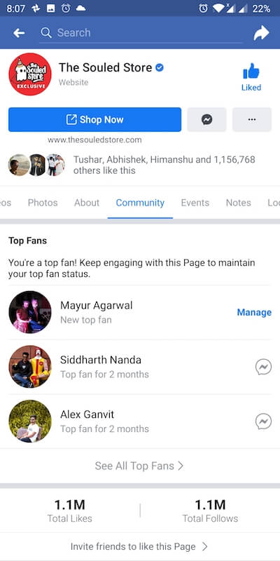 facebook page community tab