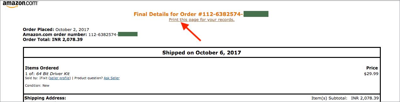 print amazon invoice