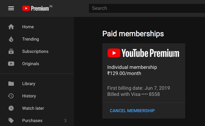 cancel youtube premium via youtube website