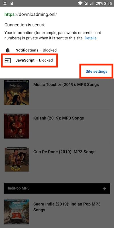 Now Block JavaScript for Specific Sites in Chrome 75 Beta on Android