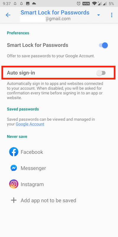 turn off auto sign-in