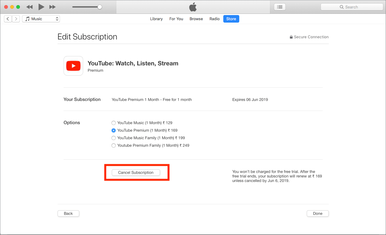 edit youtube subscription from itunes