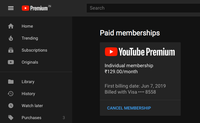 cancel youtube premium via youtube website