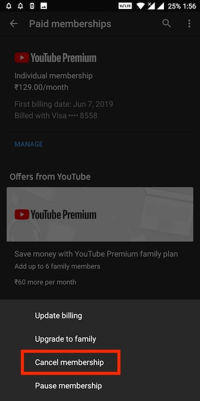 cancel youtube premium membership on android